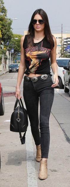 What are those vintage-looking rocker t-shirts Kendall Jenner and the Kardashians are always wearing? We found a clue... click to see which brand we think it is!