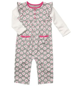 Carter's Baby Coverall, Baby Girls Faux-Layered Floral Coverall - Kids Newborn Shop - Macy's