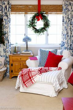 Cozy reading spot in Christmas master bedroom with Ikea slipcovered Ektorp chair Christmas Bedroom, Blue Christmas, Yellow Baby Room, Decor, Holiday Bedroom, Christmas Decorations Bedroom, Bedroom Decor, Home Decor, Rustic Bedroom Design