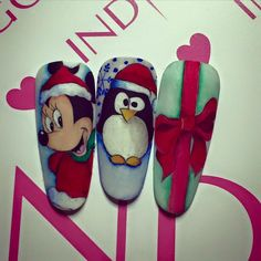 Christmas Inspiration from Indigo Italia! Disney Christmas Nails, Xmas Nails, Christmas Nail Designs, Holiday Nails, Nails Ideias, Mickey Nails, Nail Lab, Bunny Nails, Indigo Nails