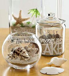 LOVE!!!! Awesome idea! Grab a handful of sand, pretty rocks, a shell and maybe some grass or leaf from every lake/stream/river you visit.  Load up the jars and write where you got it and when you visited.  Super cool idea. I had know idea what to do with all the seashells we collected last year,. Im totally doing this!