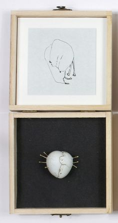 Anja Eichler Object: State 5, 2015 Ink on Paper;Quail eggs (hardened), 15k gold, silver back, steel pin, paper clay, aluminium foil Photo by: Anja Eichler Drawing & Brooch © By the author. Read Klimt02.net Copyright.