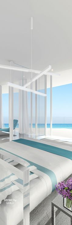 Stunning bedroom with beach views by Jennifer Post Design   LOLO