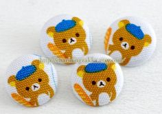 Fabric Covered Buttons (M) - Cute Rilakkuma's Dessert (4Pcs, 0.75 Inch). $4.50, via Etsy.