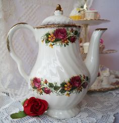 An 'English Rose' coffee pot decorated with burgundy and yellow roses, accented with lustrous gold detail. Great for a vintage breakfast! by Alexsprettyvintage on Etsy