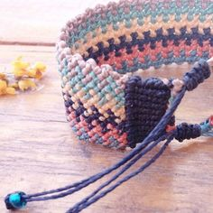 Colorful macrame bracelet for fall or spring, it depends on which side of the planet you are now