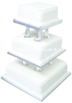 Wedding Cake - 3 Tier Square with Pillars **SPECIAL OFFER