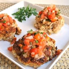 GF Tuna Cakes with Fresh Tomato Salsa - I modified this a bit - didn't do the Cholula and subbed grapeseed oil and some GF flour mix. This was fantastic though - light and way healthier than other cakes/sauce! Gluten Free Recipes Side Dishes, Fish Recipes, Seafood Recipes, Healthy Recipes, Recipies, Curry Recipes, Fish Dishes, Seafood Dishes, Fish And Seafood