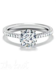Forevermark Round Solitaire Ring with Pave Band S3_061 Engagement Ring. ]