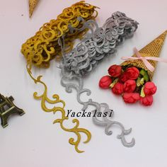Gold Embroidered Braid Lace Iron On Applique Ribbon Lace Trims Cos Costume Decoration 4cm Wide