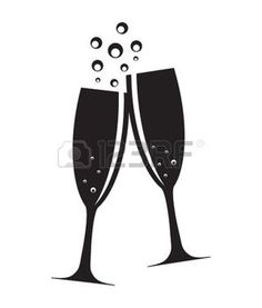 champagne toast: Two Glasses of Champagne Silhouette Vector Illustration Wedding Silhouette, Silhouette Clip Art, Silhouette Design, Silouette Art, Glasses Tattoo, Brahma, Stencil Stickers, New Year Art, Champagne