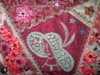 free crazy quilt block tutorial - good way to learn some new stitches! Love the lady in big hat.