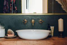 Tadelakt gone dark: photograph by India Hobson, courtesy of Bentley Hagen Hall, from Bathroom of the Week: A Moody Tadelakt Bath in London. Grey Bathrooms, Beautiful Bathrooms, Small Bathroom, Bathroom Colors, Bathroom Wall, Countertop Basin, Countertops, Victoria And Albert Baths, Tiny Loft