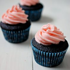 Dark Chocolate and Champagne Buttercream Cupcakes