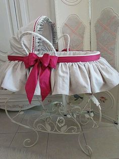 This beautiful bassinet for baby is a feature in the nursery alone. Designed for a baby girl.