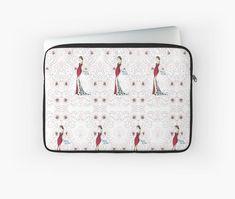 #LaptopSleeve #pattern #red #black #girl #fashionIllustration #macbook #PCcase #gift #giftideas