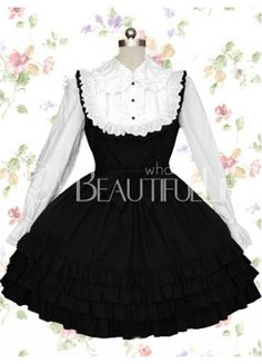 Graceful Black And White Cotton Long Sleeves Ruffle Bow Gothic Lolita Dress