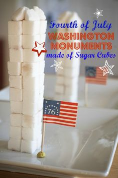 Washington Monument made out of sugar cubes. SUPER easy #FourthofJuly crafts for kids.