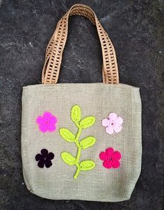 Unique handmade green (sage) burlap summer tote bag with crochet applique of flowers eco-friendly