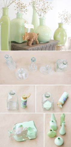 DIY glass bottle decoration: 20 inspirational examples and DIY projects - Diy And Craft Jar Crafts, Bottle Crafts, Home Crafts, Diy And Crafts, Arts And Crafts, Bottle Art, Diy Décoration, Diy Art, Craft Projects