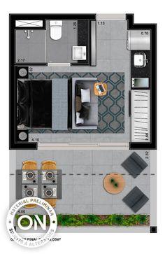 Life is on Studio Apartment Floor Plans, Studio Apartment Layout, House Floor Plans, Garage Apartments, Tiny Apartments, Floor Plan Layout, Narrow House, Prefab, Small Spaces