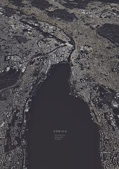 Zürich city map Art Print