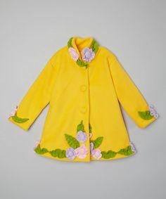 Look at this #zulilyfind! Yellow Flower Coat - Infant, Toddler & Girls #zulilyfinds