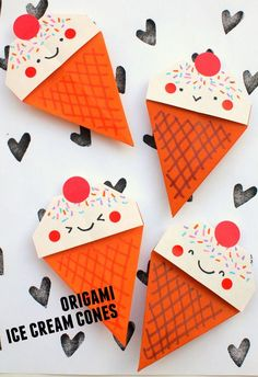 how to fold origami ice cream cones- super fun and cute kids craft Cute Kids Crafts, Paper Crafts For Kids, Crafts For Kids To Make, Craft Activities For Kids, Art For Kids, Arts And Crafts, Weekend Activities, Kid Art, Preschool Art