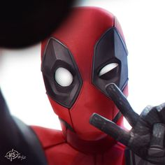 Deadpool Selfie by MaxGrecke, Deadpool Movie Fan Art, Digital Painting, Character Portrait, Inspirational Art