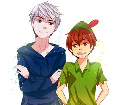 Rise of the Guardians Fan Art: Jack Frost & Peter pan Dreamworks Animation, Disney And Dreamworks, Disney Pixar, Jack Frost, Peter Pan Anime, Guardians Of Childhood, Disney Crossovers, Rise Of The Guardians, The Big Four