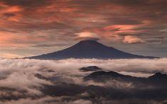 Download wallpapers Mount Fuji, fog, clouds, Fujiyama, morning, Asia, japanese landmarks, stratovolcano, Japan