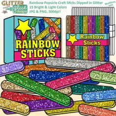 Rainbow Popsicle Craft Sticks Dipped in Glitter Clipart - Common Core Math Ideas #commoncore #math #teacherspayteachers #education #craftstick #clipart
