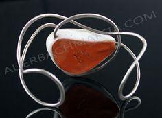 Elsa Freund Modernist Sterling and Ceramic Bracelet