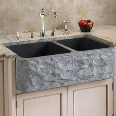 Polished Granite 60/40 Offset Double-Bowl Farmhouse Sink - Chiseled Front