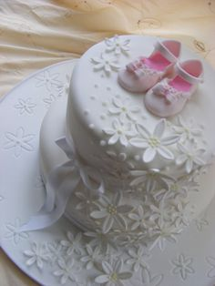 christening cake, baby shower, take the baby shoes off and wedding or bridal shower cake. Baby Cakes, Baby Shower Cakes, Girl Cakes, Cupcake Cakes, Pretty Cakes, Beautiful Cakes, Communion Cakes, Cake Pictures, Occasion Cakes
