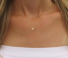 Tiny gold initial necklace Gold letter necklace by HLcollection>>>always wanted one-bina Initial Necklace Gold, Initial Jewelry, Silver Jewelry, Silver Ring, Horseshoe Necklace, Topaz Jewelry, Quartz Jewelry, Bullet Jewelry, Pendant Necklace