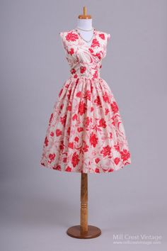 1950 Red Jacquard Vintage Party Dress