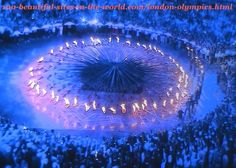 London Olympics 2012. The fires of the small parts of the torches (copper petals) on the ground