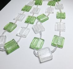 Light Green and Silver Square Glass Beadwork Necklace by tzteja, $20.00