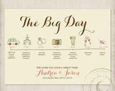 Wedding Itinerary Cards Wedding Timeline Weddings by JaxDesigns27