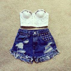 White lace corset ; denim shorts