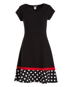 Look at this #zulilyfind! Black & White Polka Dot Contrast-Hem A-Line Dress - Plus Too #zulilyfinds