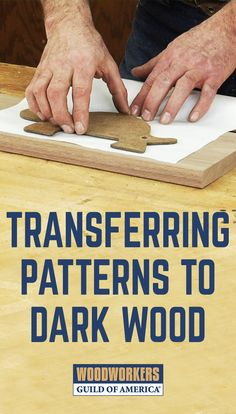 Transferring patterns to dark material can be a challenge. When the pencil line is the same color, or nearly so, as the wood you're making your project from, how do you follow the line? Thankfully there's a product, available at craft stores, that solves this problem. Instead of leaving a dark line for you to follow (on dark wood) it leaves a brilliant white line. Very easy to see that! Have a look.