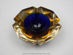 Murano sommerso blue & yellow 'geode' glass bowl