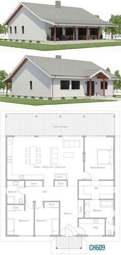 House Plan - House Plan, Home Plan, Floor Plan, - Simple House Plans, New House Plans, Dream House Plans, Simple Floor Plans, Small House Floor Plans, Bungalow House Plans, Dream House Exterior, Sims House, Architecture Plan