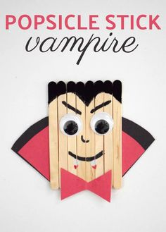Stick Vampire This popsicle stick vampire embodies the spirit of Halloween. Learn how to make this simple craft stick piece for kids.This popsicle stick vampire embodies the spirit of Halloween. Learn how to make this simple craft stick piece for kids. Theme Halloween, Halloween Arts And Crafts, Adornos Halloween, Manualidades Halloween, Halloween Crafts For Kids, Fall Crafts, Holiday Crafts, Halloween Decorations, Halloween Vampire