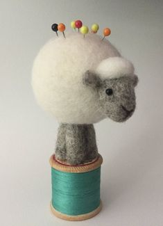felted wool animals Needle Felted Sheep pin cushion wool gift for Mum Needle Felted Animals, Felt Animals, Sheep Cards, Felt Pincushions, Needle Felted Ornaments, Gifts For Nan, Felt Gifts, 3d Figures, Needle Felting Tutorials