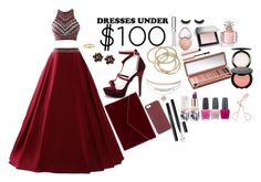 """""""Dresses Under $100"""" by lifestyle1duckling ❤ liked on Polyvore featuring Chantecler, Jennifer Meyer Jewelry, ABS by Allen Schwartz, Chantecaille, Too Faced Cosmetics, Burberry, Urban Decay, Guerlain, Teeez and OPI"""