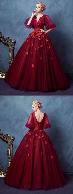 VIntage V-Neck Ball Gown Half Sleeves Pleats Floor-Length Quinceanera Dress Source by dresswe gowns drawing Vintage Ball Gowns, Red Ball Gowns, Red Gowns, Ball Gown Dresses, 15 Dresses, Flower Dresses, Stylish Dresses, Cute Dresses, Vintage Dresses