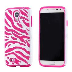 Hot Pink Zebra Pattern 2 in 1 Silicone Case Cover for Samsung Galaxy S4 i9500 offers superior protection for your device without all the bulk.
